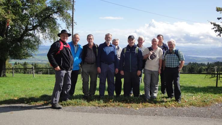 Die Wandergruppe des Männerturnvereins Wangen auf dem Horben mit dem Reusstal und Zugerland im Hintergrund.