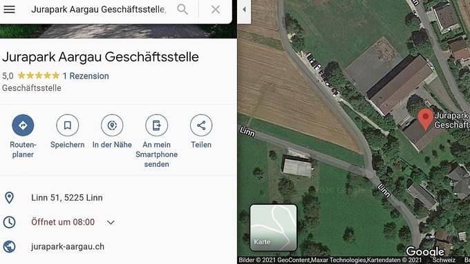 Der Screenshot von Google Maps zeigt die Geschäftsstelle des Juraparks Aargau im ehemaligen Schulhaus mit der Adresse «Linn 51, 5225 Linn».