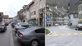 Mittwochnachmittag in Waldshut im Wallgraben: Die Autos stehen im Zentrum Schlange. Mittwochnachmittag in Bad Zurzach: Gähnende Leere in der Hauptstrasse.