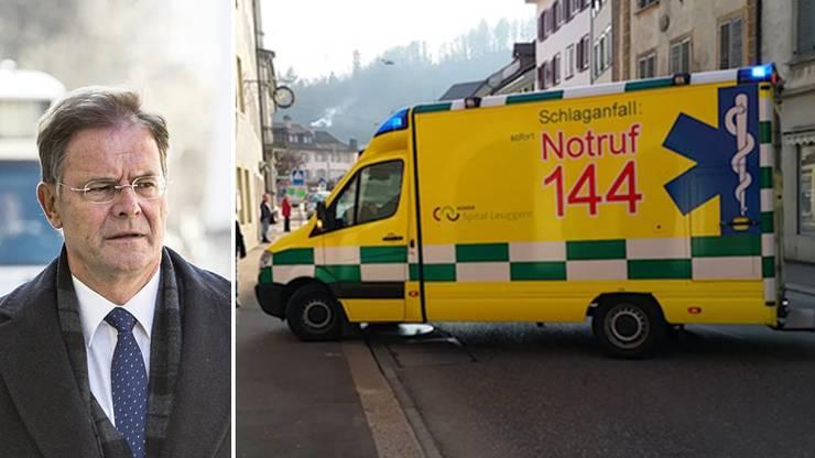 Walter Dubler bricht im Gerichtssaal zusammen - eine Ambulanz wird gerufen
