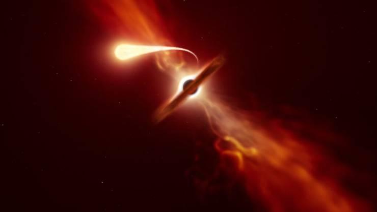 """Künstlerische Darstellung eines Sterns, der durch die Gezeitenwirkung eines schwarzen Lochs eine """"Spaghettisierung"""" erfährt."""