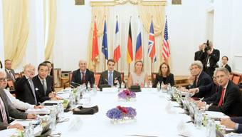 Dürften noch einige Tage sitzenbleiben: Die Verhandlungspartner am Tisch in Wien, in der Mitte im grauen Kleid die EU-Aussenbeauftragte Federica Mogherini.
