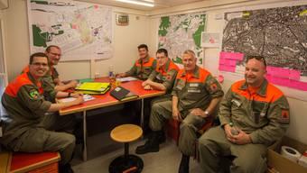 Die Zivilschutzorganisation Reusstal-Rohrdorferberg in der Einsatzzentrale am Eidgenössischen Turnfest in Aarau.