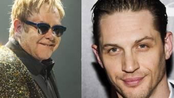 Elton John (l) und sein Darsteller Tom Hardy (Archiv)