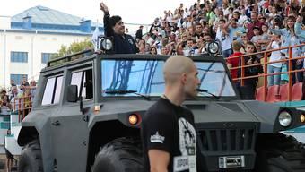 Diego Maradona zieht auch in Weissrussland die Blicke mit einem konfusen Auftritt auf sich