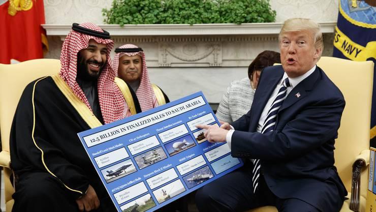US-Präsident Donald Trump (r.) stellt die wirtschaftlichen Vorteile einer Allianz mit Kronprinz MBS aus Saudi-Arabien in den Vordergrund.
