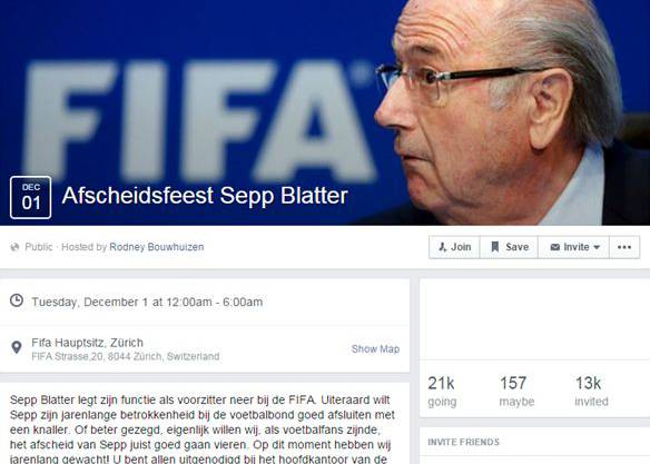21'000 Facebook-Nutzer haben sich bereits für Sepp Blatters Sause angemeldet