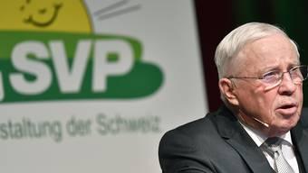 """Partei muss """"ad Säck"""": SVP-Doyen und alt Bundesrat Christoph Blocher an der Albisguetli-Tagung in Zürich."""