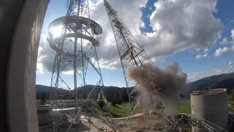 Acht Kilo Sprengstoff brachten die Antenne am am Donnerstagabend zu Fall.