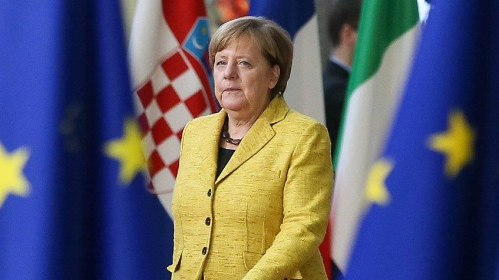 """""""Die Standpunkte haben sich nicht verändert"""": die deutsche Kanzlerin Angela Merkel zur Flüchtlings-Debatte am ersten Tag des EU-Gipfels in Brüssel."""
