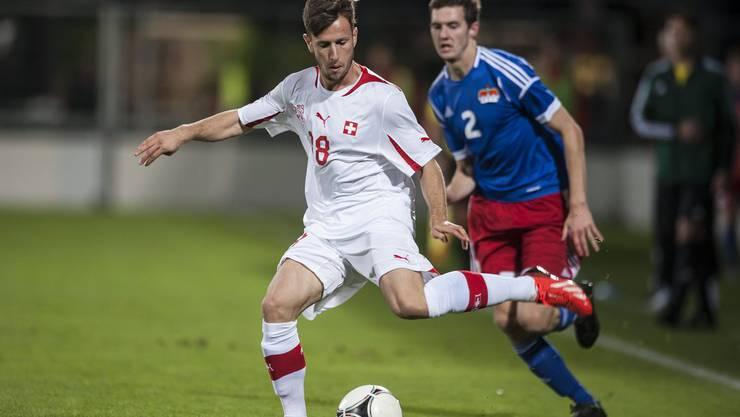 Der Mittelfeldspieler ist der Top-Reiter in Sachen Länderspieleinsätzen. In sieben Partien für die U21-Nati der Schweiz (hier während der EM-Qualifikation gegen Lichtenstein) traf er einmal.