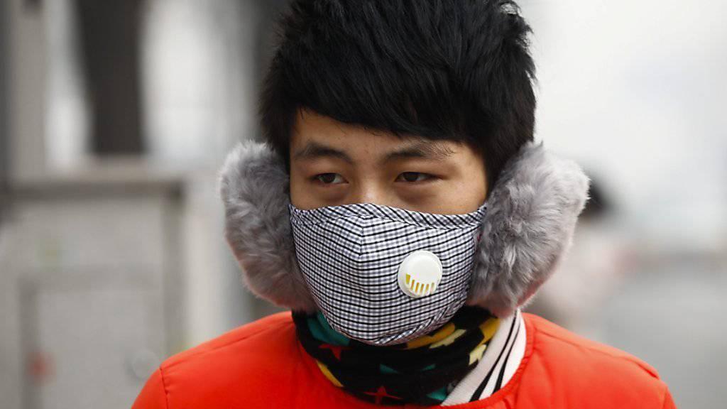 Ein Mann schützt sich mit einer Spezialmaske gegen die Auswirkungen des Smogs in Peking. Die besonders gefährlichen Feinstaubwerte erreichen dort zur Zeit 598 Mikrogramm pro Kubikmeter. Der Grenzwert der Weltgesundheitsorganisation liegt bei 25 Mikrogramm.