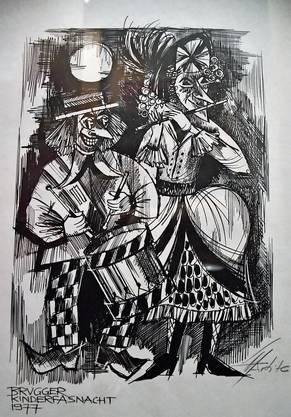 Das älteste Plakat stammt aus dem Jahr 1977 und weist mit Trommler und Pfyffer auf die Brugger Kinderfasnacht hin. Künstlerisch prägte er die Brugger Fasnacht wie kein anderer: Grafiker Sepp Marty.
