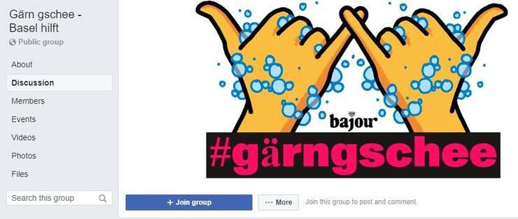 Die Facebook-Seite von «Gärn gschee - Basel hilft».