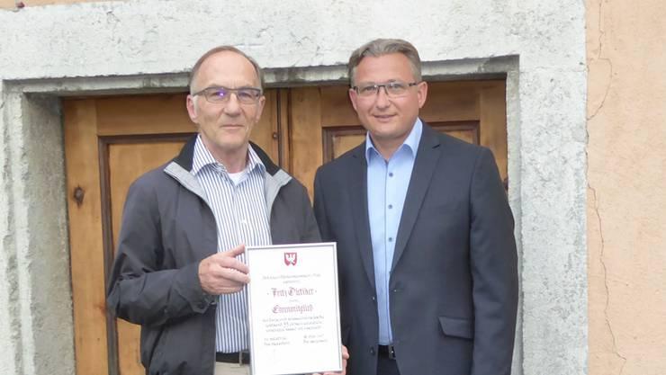 Fritz Dietiker (links) und Präsident Stephan Berger.