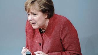 Emotional wie selten: Deutschlands Kanzlerin Angela Merkel am Mittwoch im Bundestag.
