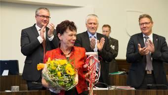 Applaus von ihren «Buebe»: Verabschiedung von Esther Gassler und Peter Gomm im Kantonsrat. Thomas Ulrich