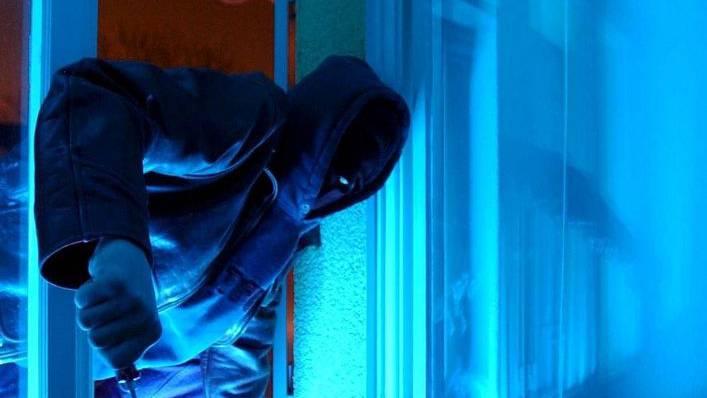 Die  Einbrecher flüchten, als die Frau im Haus wegen verdächtiger Geräusche nachschaut.