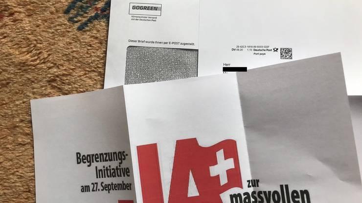 Dieser Brief wurde diese Woche an viele Schweizer Haushalte versandt - über die deutsche Post.