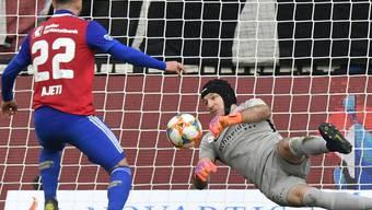 Der einzige Basler Sünder: Albian Ajeti scheitert in den Schlussminuten aus kurzer Distanz an Thuns Goalie Guillaume Faivre