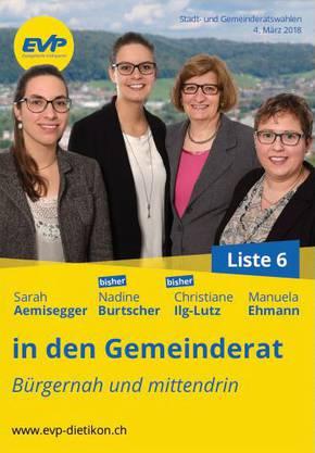 Die Spitzenkandidatinnen der EVP Dietikon für die Gemeinderatswahlen vom 4. März 2018: Sarah Aemisegger (neu), Nadine Burtscher (bisher), Chris Ilg-Lutz (bisher), Manuela Ehmann (neu)
