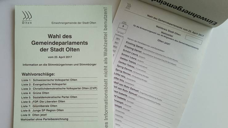 Die Liste der Gruppierung Olten jetzt! fehlte in sechs Fällen.