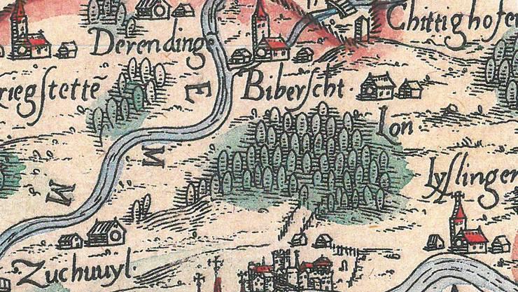 Noch mit alter Schreibweise Lon (rechts der Mitte) auf einer Karte von 1577.