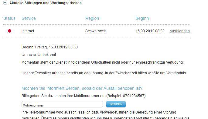 Störungsmeldung auf www.upc-cabelcom.ch