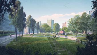 Wo einst Züge Richtung Hafen bretterten, soll ein Park entstehen: So sehen die Pläne für das Klybeckquai aus.