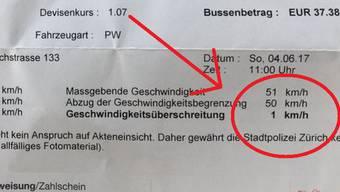 Wie auf dem Bild, das Brinkbäumer veröffentlicht hat, zu sehen ist, fuhr er in der Schweiz zu schnell und muss nun dafür eine Busse bezahlen. Betrag: 37,38 Euro.