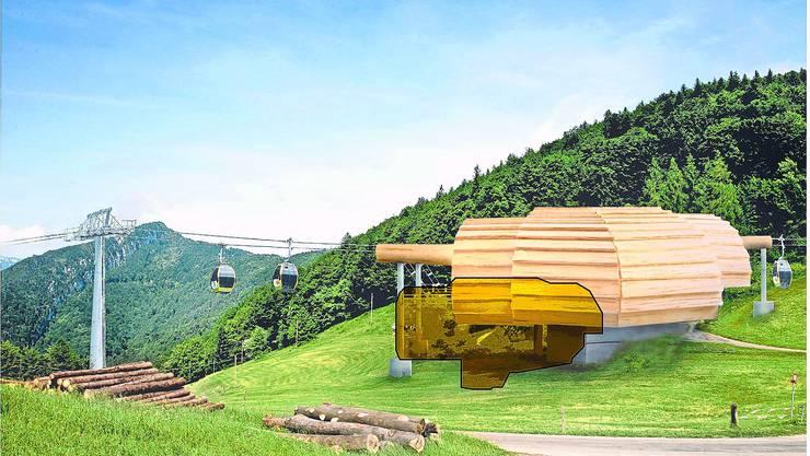 So haben der Heimatschutz und Pro Sesseli die künftige Mittelstation Nesselboden «verkauft» - die tatsächlichen Dimensionen sind gelb getönt. (zvg)