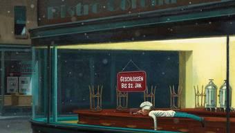 Edward Hopper im Zeichen der Pandemie neu interpretiert: Bars und Restaurants blieben wiederholt (und noch bis mindestens 22. Januar 2021) geschlossen.