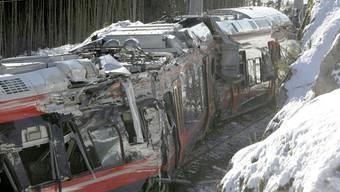 Der zerstörte Zug nach dem Unglück in Norwegen