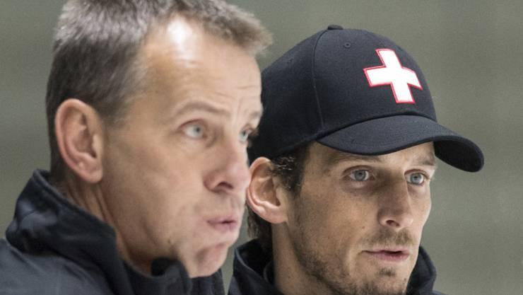 Patrick Fischer (rechts) und sein neuer Assistent Tommy Albelin sprechen nicht die gleiche Hockeysprache.