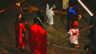 Ostern auf kolumbianisch: Ein blutüberströmter Jesus, römische Soldaten – und ein Engelchen in weiss