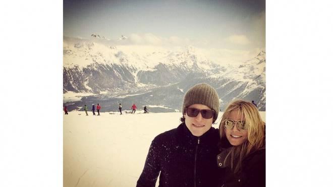 Vito Schnabel und Heidi Klum auf den Skipisten von St. Moritz. Foto: Instagram