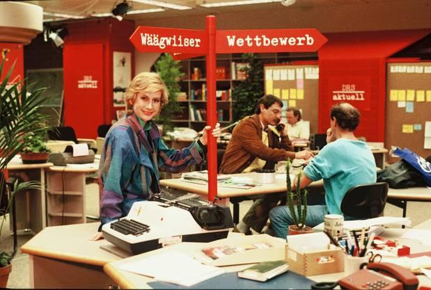 Der Blick zurück: Helen Issler im Studio von «DRS aktuell» ungefähr 1982 (heute «Schweiz aktuell»).