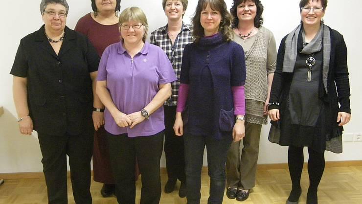 Der neue Vorstand: v.l. Bernadette Donatiello (neu), Monika Rupp, Joli Mathys (neu), Priska Wick, Esther Wälti (neu), Marianne Flury, Anita Büttiker
