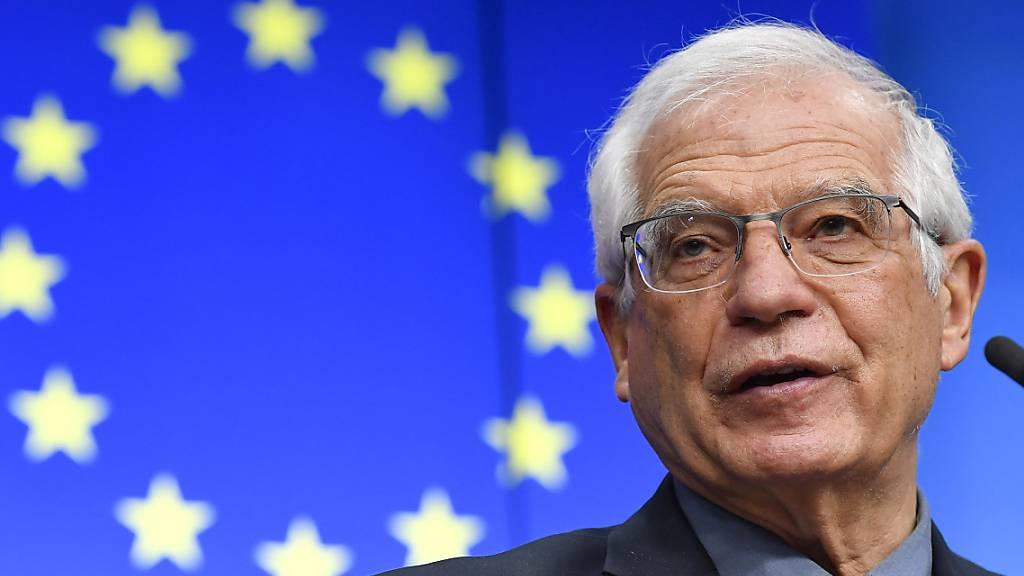 Josep Borrell, EU-Außenbeauftragter, spricht während einer Pressekonferenz im Gebäude des Europäischen Rats. Foto: John Thys/Pool AFP/AP/dpa