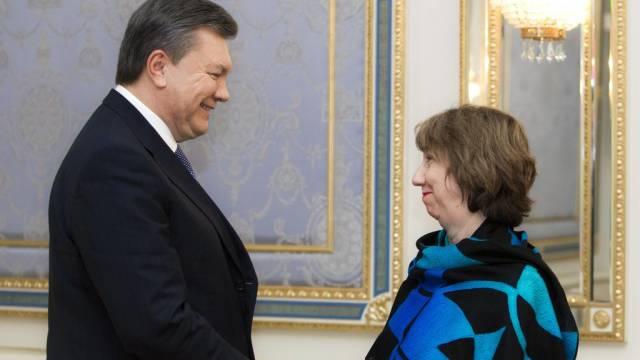 Viktor Janukowitsch und Catherine Ashton am Mittwoch in Kiew