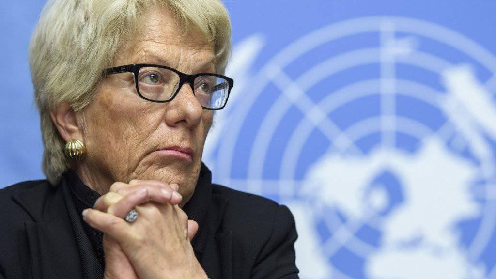 Ist frustriert über das blockierte Sondertribunal: Die Tessiner Juristin Carla del Ponte, die vergangene Woche ihren Rücktritt aus der UNO-Untersuchungskommission zu Syrien angekündigt hat. (Archivbild)