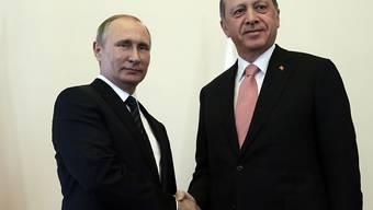 Ihre Regierungen sollen sich auf einen Vorschlag für eine Waffenruhe in Syrien geeinigt haben: Der russische Präsident Putin (links) und sein türkischer Amtskollege Erdogan. (Archiv)