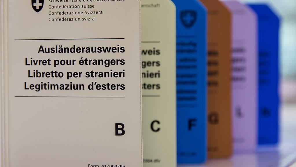 Bald nicht mehr nötig: Hüllen für die heutigen Ausländerausweise aus Papier, die ab November durch Ausweise im Kreditkartenformat ersetzt werden. (Archivbild)