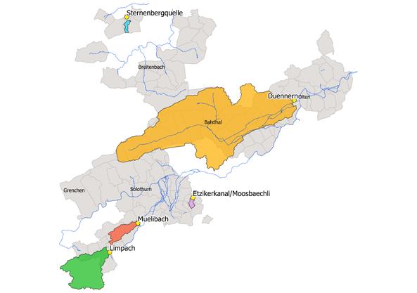 Die fünf Gewässer Limpach, Mülibach, Etzikerkanal, Dünnern und Sternenbergquelle mit ihren Einzugsgebieten.