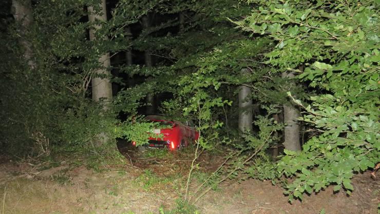 In einem Waldstück kam der Honda zum Stillstand.