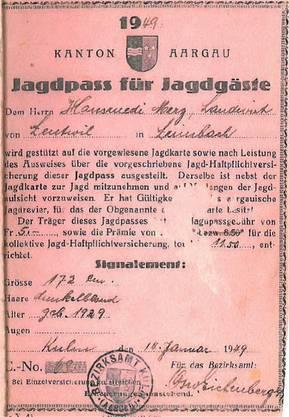 Der «verbotene» Jagdpass von 1949.