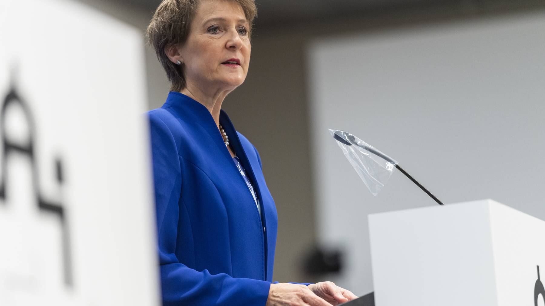 Bundespräsidentin Simonetta Sommaruga (hier an der Coronasession in Bern) verzichtet an den Solothurner Literaturtagen auf das Rednerpult.