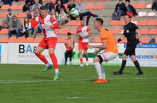 Loris Vernocchi (l.) erzielte einen Treffer per Kopf beim Kantersieg des FCS.