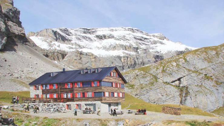 Die Hütte soll um den vorderen Teil mit den drei Dachfenstern erweitert werden.