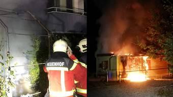 3. Oktober, Alte Zürcherstrasse, Neuenhof: Brand in einer Hundeschule (r.) – ist der Brandstifter auch hier verantwortlich?